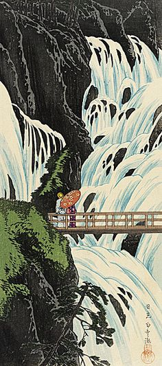 Takahashi Shotei (Hiroaki) 'Shiraqumo Waterfall of Nikko' late 1910's Japan .............. #japan #japanese