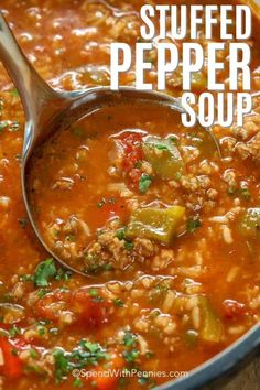 Stuffed Pepper Soup is an easy soup recipe. In this family favorite, ground beef and sausage is simmered along with bell peppers, tomatoes and seasonings. Add in rice to serve. It freezes well and reheats beautifully! recipes with ground beef Easy Soup Recipes, Crockpot Recipes, Cooking Recipes, Uk Recipes, Recipes Dinner, Recipies, Slow Cooker Stuffed Peppers, Stuffed Peppers With Sausage, Soup With Ground Beef