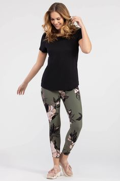 These floral-print leggings will add a dose of wow to your next workout! Featuring a wide waistband and ankle-length hem, they're equally fit for a day of errands or casual brunch. Black And White Leggings, Ankle Length, Floral Prints, Sporty, Print Leggings, Sage, Casual, Pattern, Sweaters