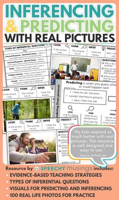 Target perspective taking and making inferences and predictions using real pictures with this resource! This resource includes 100 real life picture cards that allow you to provide effective, direct teaching on how to make inferences from picture scenes. In addition, there are visuals that teach inferencing and predicting using the same structure so that you can easily carryover these two important skills to other pictures or texts. Your speech therapy students will love this activity!