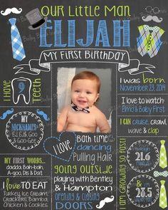 ONEderful Birthday Chalkboard Bow Ties Bowtie Little Man First Birthday Posters, First Birthday Chalkboard, Birthday Themes For Boys, First Birthday Parties, First Birthdays, Birthday Ideas, First Birthday Sign, Birthday Diy, Birthday Photos