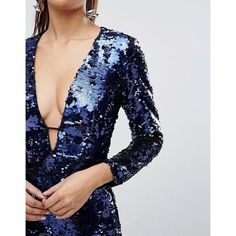 ASOS Sequin Deep Plunge Mini Dress ($50) ❤ liked on Polyvore featuring dresses, embellished mini dress, sequin cocktail dresses, tall dresses, short blue dress and sequin mini dress