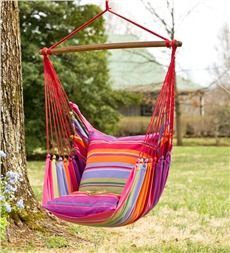 Pink Striped Cotton Hammock Chair Swing - Plow & hearth.com $130
