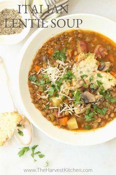 Italian Lentil Soup Recipe, Vegetarian Lentil Soup, Italian Soup Recipes, Fall Soup Recipes, Lentil Soup Recipes, Chicken Lentil Soup, Lentil And Bacon Soup, Lentil Stew, Vegan Soup