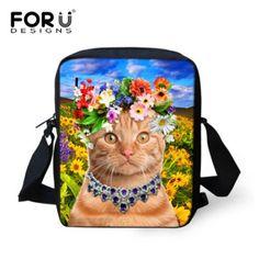 FORUDESIGNS Desinger Women Messenger Bags 3D Animal Printing Shoulder Bag Kawaii Cat Messenger Bags High Crossbosy Bag for Girls