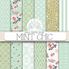 Mint digital paper: MINT CHIC with mint by royaldigitalstore