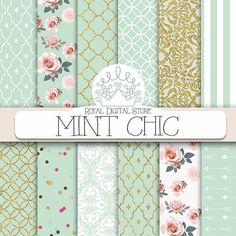 Papier numérique à la menthe : background « Menthe CHIC » à la menthe, roses, damassés, quadrilobe, de menthe et d'or pour le scrapbooking, des cartes, des invitations