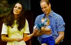 """Prince William, Catherine, Duchess of Cambridge, aka Kate Middleton, and Prince George visiting the bilby enclosure named after George at the Taronga Zoo, Sydney, Australia. She is rewearing a broderie anglaise dress in """"primrose yellow,"""" Stuart Weitzman Minx wedges, Kiki McDonough Citrine Drop earrings and a necklace of charms from the Woodland collection by Asprey of London. 4/20/14"""