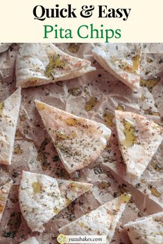 Grab yourself a quick snack and enjoy these vegan pita chips! They are super delicious, easy to make and healthier than store bought snacks. How to make easy pita chips. #pita #chips #pitachips #vegan #snack Delicious Vegan Recipes, Tasty, Healthy Recipes, Quick Snacks, Quick Easy Meals, Vegan Snacks, Vegan Food, Other Recipes, Whole Food Recipes