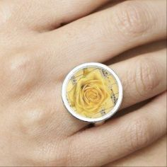 Yellow Rose & Music Silver Plated Round Fashion Ring by MoonDreams Music #ring #silver #round #yellow #rose #music #moondreamsmusic #accessories