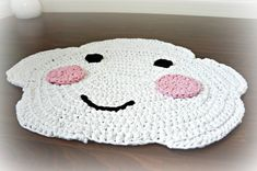 Items similar to Happy Cloud - crocheted nursery area rug on Etsy Nursery Area Rug, Nursery Decor, Crochet For Kids, Crochet Toys, Faux Fur Area Rug, Washable Area Rugs, Little Cherubs, Knit Rug, Bricolage