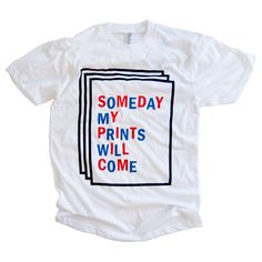 One of very few remaining logo t-shirts from the SOMEDAY MY PRINTS WILL COME 2013 mail art club!American Apparel 50/50 Unisex tee in White.