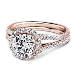French Cut Engagement Setting for Round Diamond in 18k Rose Gold.