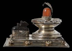 Silver Shivalingam Shrine with Attendant Nandi, set with Carnelian & Pearls - Michael Backman Ltd