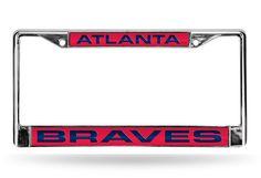 MLB Atlanta Braves Red Laser Cut Chrome License Plate Frame