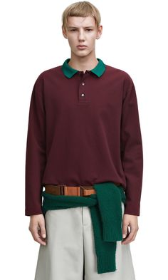 Everet ls burgundy relaxed fit polo shirt #AcneStudios #menswear #SS15