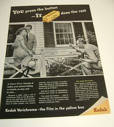 1946 Kodak Verichrome The Film in The Yellow Box Magazine Ad