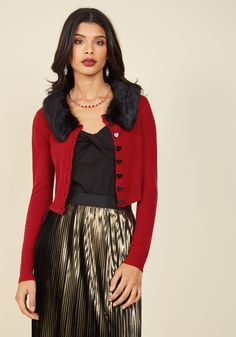 Luxe Layer Cardigan. The delightful focal point of your masterfully crafted ensemble is, of course, this bright red cardigan! #red #modcloth