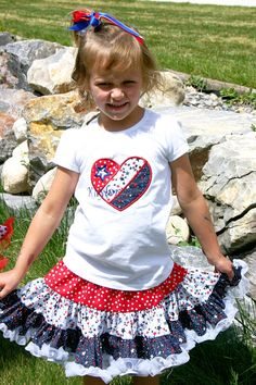 Ari's Angels 4th of July Applique Shirt and Full Twirling Skirt Independence Day, Patriotic outfit, American