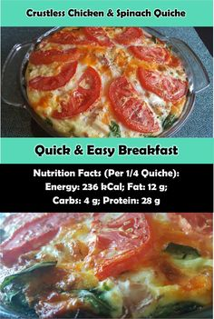Nutritious Sunday brunch breakfast recipe or perfect to prep ahead for a weekday meal! Quick And Easy Breakfast, Healthy Breakfast Recipes, Brunch Recipes, Healthy Recipes, Spinach Quiche, Weekday Meals, Glass Baking Dish, Spinach Stuffed Chicken, Sunday Brunch