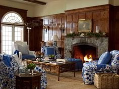 A beautiful contrast of dark walls and blue and white upholstery - Meg Braff Interiors Living Room Modern, Home And Living, Living Area, Living Spaces, Interior Decorating, Interior Design, Interior Ideas, Cottage Decorating, Decorating Ideas