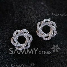 $7.13 Pair of Exquisite Faux Gemstone Embellished Spiral Flower Earrings For Women