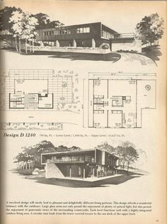 Vintage House Plans, Mid Century Homes Design D 1240 Modern Floor Plans, Modern House Plans, Modern House Design, House Floor Plans, Vintage House Plans, Vintage Homes, Home Planner, House Blueprints, Level Homes