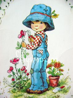 Vintage Big Eyed Girl Gardening Postcard Mary May Style. $5.00, via Etsy.