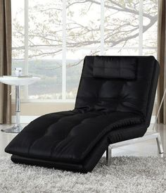 Bring style and comfort into your home with the Vienna Chaise. The Vienna is a multi-position chaise lounger, which converts easily into chair and bed positions. The beautifully tailored black bonded leather and stainless steel base and legs allow this chaise to fit effortlessly into any room design.