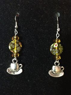 Marigold and Flowered Yellow Tea Cup Earrings by queenofqeeks, $8.00