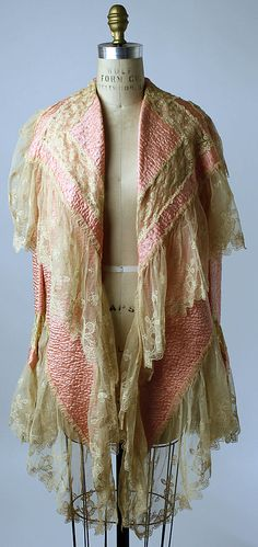 1920s Bed Jacket made of silk. Additional views can be seen at http://www.metmuseum.org/Collections/search-the-collections/80037284?rpp=60=1=bed=Bed+jackets=32#
