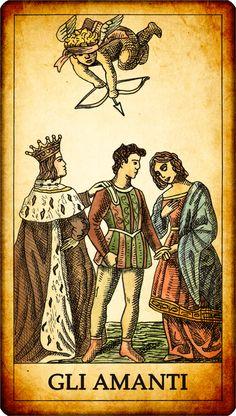 """Carta dei Tarocchi """"VI. GLI AMANTI"""" Una coppia di innamorati sta per essere unita in matrimonio. La loro unione è sancita da una persona in terra, e da Cupido in cielo. Cupido è sul punto di scoccare la sua freccia, facendo trionfare così l'amore. In alcune raffigurazioni dei tarocchi le mani degli amanti sono congiunte: ulteriore simbologia, sia cristiana che pagana, dell'unione in matrimonio. SIGNIFICATO nei Tarocchi: Il simbolismo della carta è ovvio: l'amore... MORE:--> www."""
