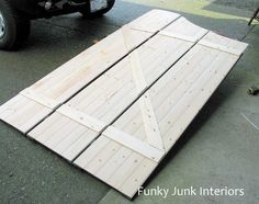 Make farmhouse barn door window shutters! By Funky Junk Interiors for Ebay