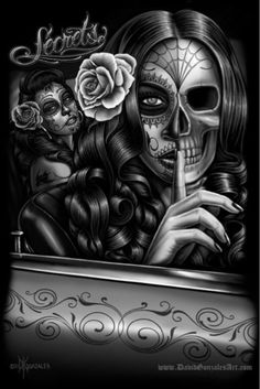 Check out our feature artist David Gonzales, the creator of Homies and a pioneer in the t-shirt and lowrider art genres. Skull Girl Tattoo, Sugar Skull Tattoos, Tatoo Art, Arte Cholo, Cholo Art, Arte Lowrider, David Gonzalez, Sugar Skull Girl, Sugar Skulls
