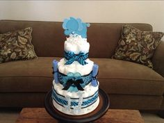 Blue Safari Baby SHower Diaper Cake by bearbottomdiapercakes, $45.00  made for party city BLue Safari Baby shower Theme