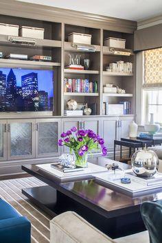 Gray Media Cabinets - Contemporary - living room - SB Long Interiors