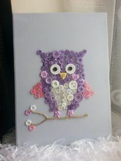 Owl Canvas Button Art Personalised van SharonsHandmadeGifts op Etsy, £15.00