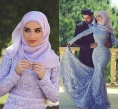 Muslim Lace Wedding Dresses 2015 Long Sleeves Zipper Back Mermaid Wedding Gowns Appliques Beaded Sequin Long Bridal Gown Hijab Dresses Online with $179.8/Piece on Angelia0223's Store | DHgate.com