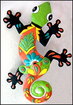 TROPICAL HOME DECOR -  This brightly hand painted metal gecko wall hanging was hand cut from a 55 gallon recycled steel drum with hammer and chisel.  -  See more tropical designs at www.TropicAccents.com
