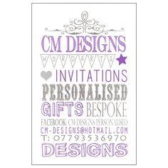 #cmdesigns #wordarts #invitations #wedding #birthday #christening #personalised #bespoke #creative