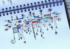 Art Journal - Zenspirations Dangles-- Love it! Tangle Doodle, Tangle Art, Zen Doodle, Zentangle Drawings, Doodles Zentangles, Doodle Drawings, Doodle Patterns, Zentangle Patterns, Doodle Borders