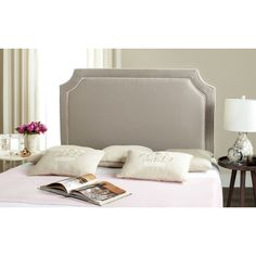 Give your master bedroom or guest room a custom designer look with this gray full headboard upholstered in a pretty and practical organic fiber blend fabric. This impeccably crafted design features notched corners and a double row of white piping. White Headboard Queen, Full Size Headboard, King Headboard, Panel Headboard, Bedroom Furniture, Bedroom Decor, Master Bedroom, Space Saving Furniture, Bed Sizes