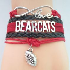 Infinity Love Cincinnati Bearcats Football - Show off your teams colors! Cutest Love Cincinnati Bearcats Bracelet on the Planet! Don't miss our Special Sales Event. Many teams available. www.DilyDalee.co
