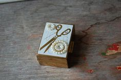 Vintage Sewing And Notion Inspired Pill Box