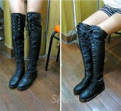 Sexy Black Lace-up Knee High Flat Boots