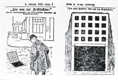 A cartoon lampooning Adolf Loos' Looshaus, comparing it to a rainwater drain. What happens when misrepresentation is the intention?