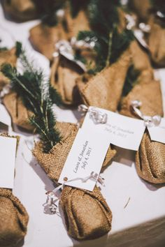 Love these mini trees as a wedding favor for your rustic chic ceremony.