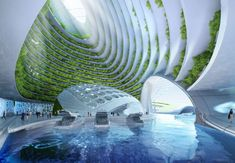 Futuristic oceanscapers are floating villages from algae and plastic waste Aequorea Carbon-free printed oceanscaper by Vincent Callebaut – Inhabitat - Green Design, Innovation, Architecture, Green Building Futurism Architecture, Architecture Design Concept, Architecture Durable, Architecture Cool, Floating Architecture, Sustainable Architecture, Innovative Architecture, Classical Architecture, Contemporary Architecture