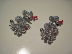 Pair of Vintage Poodle Dog Scatter Pins Brooches by TheJewelFish