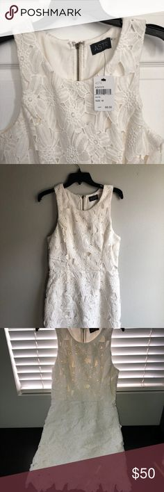ASTR lace dress New, white lace sleeveless dress by ASTR is perfect for baby showers, for a future bride to wear for pre-wedding parties... Astr Dresses
